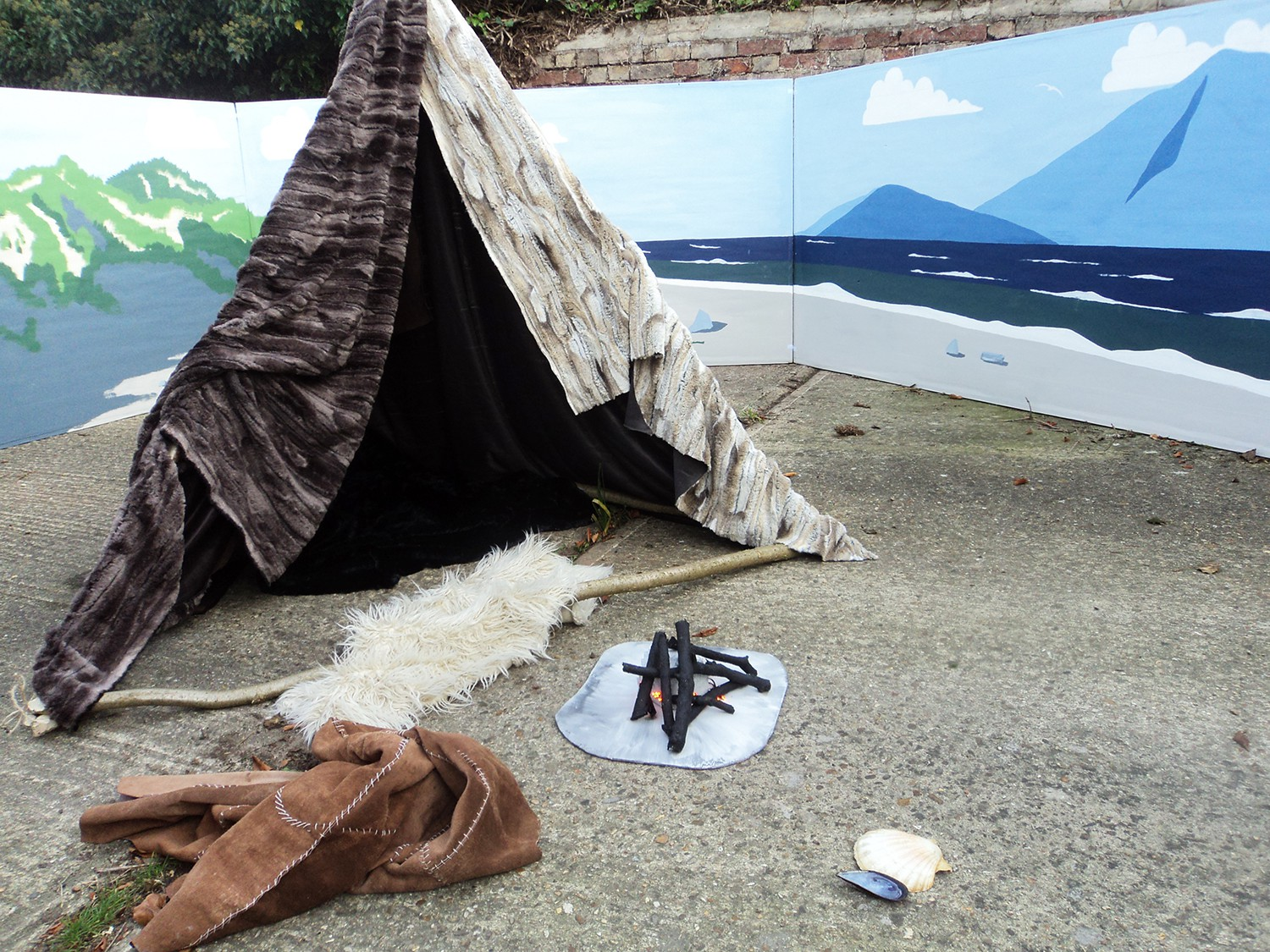 Mesolithic tent shelter replica
